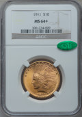Indian Eagles, 1911 $10 MS64+ NGC. CAC....