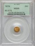 California Fractional Gold, 1874 25C Indian Round 25 Cents, BG-875, High R.4, MS65 PCGS....