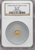 California Fractional Gold, Undated 25C Liberty Round 25 Cents, BG-204, R.5, MS63 NGC....