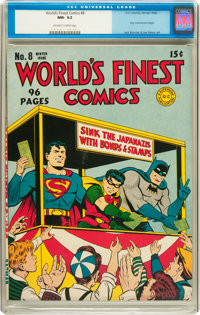World's Finest Comics #8 (DC, 1942) CGC NM- 9.2 Off-white to white pages