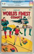 Golden Age (1938-1955):Superhero, World's Finest Comics #18 (DC, 1945) CGC VF/NM 9.0 Off-white to white pages....