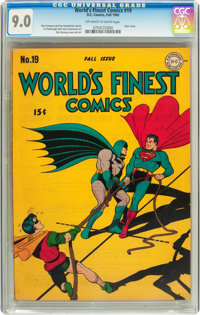 World's Finest Comics #19 (DC, 1945) CGC VF/NM 9.0 Off-white to white pages