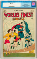 Golden Age (1938-1955):Superhero, World's Finest Comics #55 (DC, 1951) CGC NM- 9.2 Off-white to white pages....