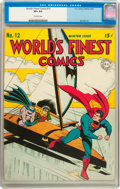 Golden Age (1938-1955):Superhero, World's Finest Comics #12 (DC, 1943) CGC VF+ 8.5 Off-white pages....