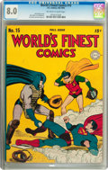 Golden Age (1938-1955):Superhero, World's Finest Comics #15 (DC, 1944) CGC VF 8.0 Off-white to white pages....