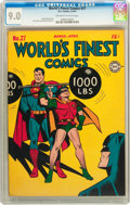 Golden Age (1938-1955):Superhero, World's Finest Comics #27 (DC, 1947) CGC VF/NM 9.0 Off-white to white pages....