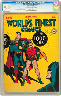 World's Finest Comics #27 (DC, 1947) CGC VF/NM 9.0 Off-white to white pages