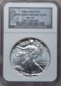 Modern Bullion Coins, 1988 $1 20th Anniversary Collection Silver Eagle MS70 NGC....