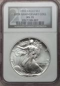Modern Bullion Coins, 1992 $1 20th Anniversary Collection Silver Eagle MS70 NGC....