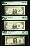 Error Notes:Error Group Lots, Fr. 1931-L $1 2003A Federal Reserve Notes. Four ConsecutiveExamples. PCGS Very Choice New 64PPQ-Superb Gem New 68PPQ; Fr.193... (Total: 7 notes)