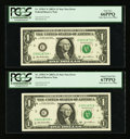 Error Notes:Error Group Lots, Fr. 1930-C* $1 2003A Federal Reserve Star Notes. Two ConsecutiveExamples. PCGS Gem New 66PPQ-Superb Gem New 67PPQ; Fr. 1933-D...(Total: 4 notes)