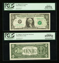 Error Notes:Error Group Lots, Fr. 1908-K $1 1974 Federal Reserve Notes. Two Consecutive Examples.PCGS Very Choice New 64PPQ-Gem New 65PPQ; Fr. 1908-K* $1 1...(Total: 4 notes)