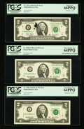 Error Notes:Error Group Lots, Fr. 1937-I $2 2003 Federal Reserve Note. PCGS Gem New 66PPQ;. Fr.1938-A $2 2003A Federal Reserve Note. PCGS Very Choice New 6...(Total: 3 notes)