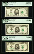 Error Notes:Error Group Lots, Fr. 1975-K $5 1977A Federal Reserve Note. PCGS Very Choice New64PPQ; Fr. 1979-F $5 1988 Federal Reserve Note. PCGS Choice Abo...(Total: 3 notes)