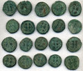 Ancients:Ancient Lots  , Ancients: BYZANTINE. Justin II (AD 565-578). Lot of 35 Æ folles,seemingly a single hoard. ... (Total: 35 coins)