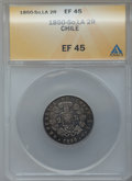 Chile, Chile: Four 2 Reales 1846, 1850, 1851 and 1852,... (Total: 4 coins)