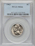 Jefferson Nickels: , 1963 5C MS66 PCGS. PCGS Population (39/0). NGC Census: (184/19).Mintage: 175,700,000. Numismedia Wsl. Price for problem fr...