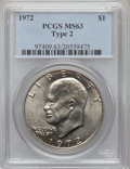 Eisenhower Dollars, 1972 $1 Type Two MS63 PCGS. PCGS Population (483/468). Numismedia Wsl. Price for problem free NGC/PCGS ...