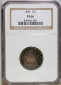 Proof Seated Quarters: , 1885 25C PR66 NGC. NGC Census: (24/14). PCGS Population (17/3).Mintage: 930. Numismedia Wsl. Price: $2,700. (#5586)...
