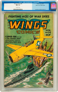 Wings Comics #56 Mile High pedigree (Fiction House, 1945) CGC NM 9.4 Off-white pages