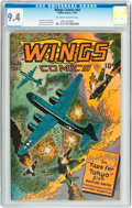 Golden Age (1938-1955):War, Wings Comics #64 (Fiction House, 1945) CGC NM 9.4 Off-white towhite pages....