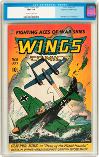Wings Comics #59 Mile High pedigree (Fiction House, 1945) CGC NM+ 9.6 Off-white to white pages