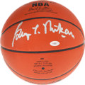 Basketball Collectibles:Balls, George Mikan Signed Leather NBA Game Basketball. ...
