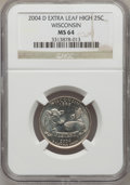 Statehood Quarters, 2004-D 25C Wisconsin Extra Leaf High MS64 NGC. NGC Census: (0/0).PCGS Population (1209/936). Numismedia Wsl. Price for pr...