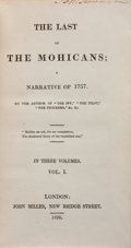 "Books:Literature Pre-1900, [James Fenimore Cooper]. The Last of the Mohicans. ANarrative of 1757. By the Author of ""The Spy,"" ""The Pioneers....(Total: 3 Items)"