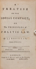 Books:Philosophy, Jean Jacques Rousseau. A Treatise on the Social Compact;or The Principles of Politic Law. London: Printed for T...
