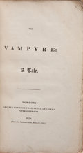 Books:Literature Pre-1900, [John William Polidori]. The Vampyre; A Tale. London:Sherwood, Neely, and Jones, 1819. First edition, secon...