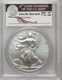2011-S $1 Silver Eagle, 25th Anniversary, Insert Autographed by John M. Mercanti, 12th Chief Engraver of the U.S. Mint...