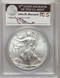 Modern Bullion Coins, 2011-W $1 Silver Eagle, 25th Anniversary, Insert autographed ByJohn M. Mercanti, 12th Chief Engraver of the U.S. Mint, F...