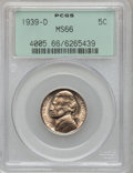 Jefferson Nickels: , 1939-D 5C Reverse of 1938 MS66 PCGS. PCGS Population (515/68). NGCCensus: (201/254). Mintage: 3,514,000. Numismedia Wsl. P...