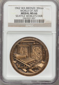 Expositions and Fairs, 1962 Seattle World's Fair, World of Art MS66 NGC. Bronze, 39mm. Washington....