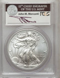 Modern Bullion Coins, 2011-W $1 Silver Eagle, 25th Anniversary, Insert Autographed byJohn M. Mercanti, 12th Chief Engraver of the U.S. Mint, Firs...