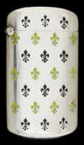 Silver Smalls:Match Safes, A KERR SILVER AND ENAMEL MATCH SAFE . Wm. B. Kerr & Co.,Newark, New Jersey, circa 1900. Marks: (fleur de lis), STERLING,...