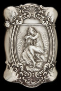 Silver Smalls:Match Safes, AN UNGER BROTHERS SILVER MATCH SAFE . Unger Brothers, Newark, NewJersey, circa 1890. Marks: UB (conjoined), STERLING...