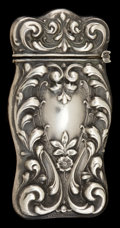 Silver Smalls:Match Safes, AN AMERICAN SILVER MATCH SAFE . Maker unknown, American, circa1900. Marks: STERLING . 2-1/2 inches high (6.4 cm). .4 tr...