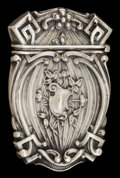 Silver Smalls:Match Safes, AN AMERICAN SILVER MATCH SAFE . Maker unknown, American, circa1900. Marks: STERLING . 2-5/8 inches high (6.7 cm). .7 tr...