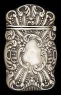 Silver Smalls:Match Safes, AN AMERICAN SILVER MATCH SAFE . Maker unknown, American, circa1900. Marks: STERLING . 2-1/8 inches high (5.4 cm). .4 tr...