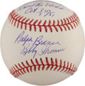 "Baseball Collectibles:Balls, Bobby Thomson and Ralph Branca ""The Shot Heard Round the World"" Multi Signed Baseball. ..."