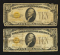Small Size:Gold Certificates, Two Fr. 2400 $10 1928 Gold Certificates. Very Good or better.. ... (Total: 2 notes)