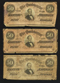 Confederate Notes:1864 Issues, Three T66 $50 1864.. ... (Total: 3 notes)