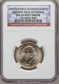 Presidential Dollars, 2007 $1 George Washington Missing Edge Lettering MS64 NGC. NGCCensus: (13428/28670). PCGS Population (0/1). (#396509)...
