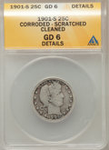 Barber Quarters, 1901-S 25C -- Corroded, Scratched, Cleaned -- ANACS. Good 6Details....