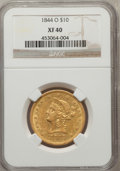 Liberty Eagles: , 1844-O $10 XF40 NGC. NGC Census: (27/288). PCGS Population(41/126). Mintage: 118,700. Numismedia Wsl. Price for problem fr...