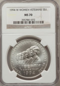 Modern Issues: , 1994-W $1 Women Veterans Silver Dollar MS70 NGC. NGC Census: (838).PCGS Population (297). Mintage: 53,054. Numismedia Wsl....
