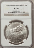 Modern Issues: , 1994-W $1 Women Veterans Silver Dollar MS69 NGC. NGC Census:(2230/842). PCGS Population (2200/297). Mintage: 53,054. Numis...