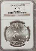 Modern Issues: , 1994-W $1 Vietnam Veterans Memorial Silver Dollar MS70 NGC. NGCCensus: (474). PCGS Population (271). Mintage: 57,317. Numi...